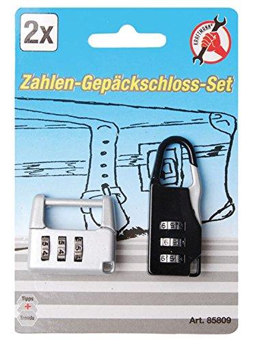Kraftmann 85809 Jeu de serrures de bagages /à chiffres Set de 2 Pi/èces Noir//blanc