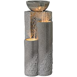 "Faux Marble Bowl & Pillar 34""H Indoor-Outdoor LED Fountain"