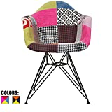 2xhome – Multi-Color – Modern Upholstered Armchair Fabric Chair Patchwork Multi-Pattern Black Wire Leg Eiffel Dining Room Chair with Arm for Living Room Dining Room