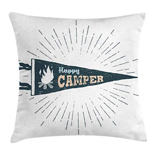 Ambesonne Camper Throw Pillow Cushion Cover by, Happy Camper Written Pennant Flag with Camping Fire Adventure Artsy Graphic, Decorative Square Accent Pillow Case, 16 X 16 Inches, Dark Grey ()