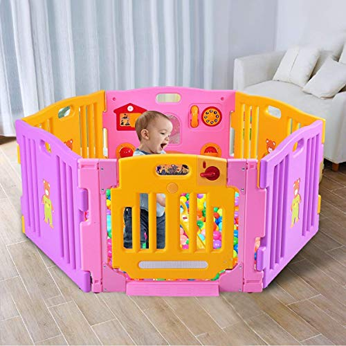 Costzon Baby Playpen Kids Safety Activity Center Play Zone Pink, 6 Panel