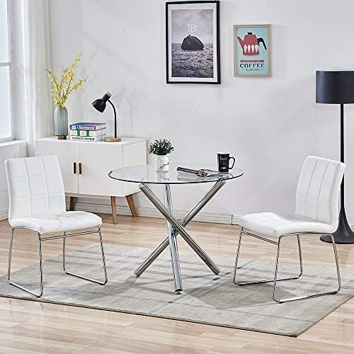 STYLIFING Dining Table and Chairs Set Round Clear Glass Top Crisscrossing Chrome Metal Legs Kitchen Table and 2 Sled Based White Faux Leather Chairs Dining Set Home Kitchen Office Waiting Room Use