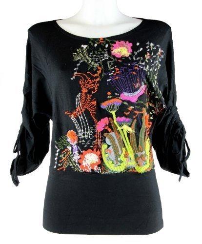 Aplicaciones de flores de murciélago Mamatayoe blusa con mangas Print T-Shirt negro talla S