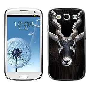Impala Cuernos Negro Naturaleza Minimalista- Metal de aluminio y de plástico duro Caja del teléfono - Negro - Samsung Galaxy S3