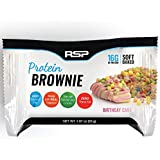 RSP Protein Brownie - Gluten Free & 16g of Protein, Delicious On-The-Go Healthy Snack - Soft Baked Brownie & High Protein Snack, Birthday Cake (12 Count)