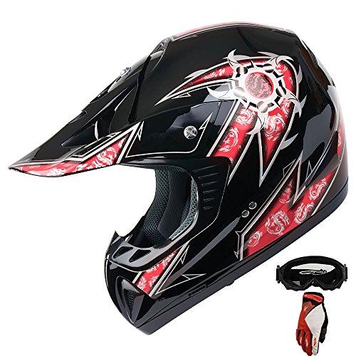 Mx Combo Box (ATV Motocross Dirt Bike Off Road Helmet Combo 299 Red/Black+gloves+goggles (L))
