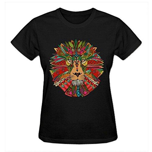 Latoca Lion Mint Pure Cotton Women's Tee Shirt Round Neck Black (Crazy Machine Taxi Arcade)