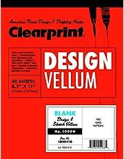 Clearprint 1000H Design Vellum Pad, 16 lb, 100% Cotton, 8-1/2 x 11 Inches, 50 Sheets, Translucent White, 1 Each (10001410)