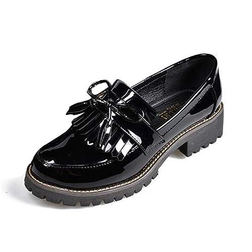 Zapatos de Charol con Borla de Las Mujeres Punta Redonda Primavera Otoño Slip-on Flats Mocasines de Plataforma para Mujer: Amazon.es: Zapatos y complementos