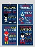 Christian Superhero Nursery Decor Art Print Set of 4 -Batman, Captain America, Superman and Flash - Multiple Sizes