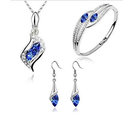 Jewelry Set for Women Girls Mingfa Fashion Crystal Chic Eyes Drop Chain Pendant Necklace Earrings Bracelet Wedding Party Gift Blue 1