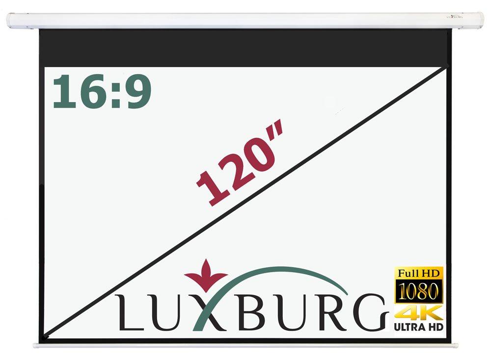 Luxburg® 100 16:9 221x125cm Full HD 3D Maxischermo / Schermo da Proiezione Manuale - Schermo Bianco Opaco (87x50) da Parete o Soffitto PS-MN-22x12-MW-2015