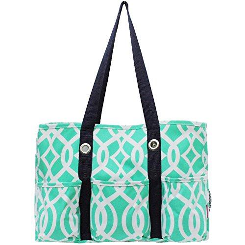 Vine Pattern Print Organizer Tote Bag (Mint)