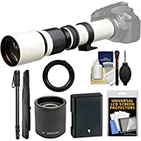 Vivitar 500mm f/8.0 Telephoto Lens (T Mount) (White) with 2x Teleconverter (=1000mm) + EN-EL14 Battery + Monopod + Kit for D3300, D3400, D5300, D5500, D5600