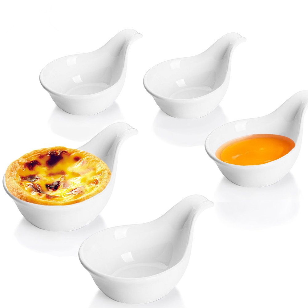 Leoyoubei Kitchen White 3 oz Porcelain Dipping Bowls/Soy Sauce Dishes/Appetizer Spoons and other spices spoon style tableware Set of 5 Stackable Ramekins Grip Handle