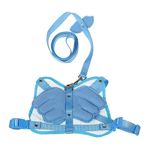 SODIAL(R) 110 cm nylon angel wings design small animal rabbit bunny cat harness rodent leash blue