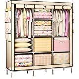 KALRI Portable Clothes Closet Non-woven Fabric Wardrobe Double Rod Storage Organizer (beige)