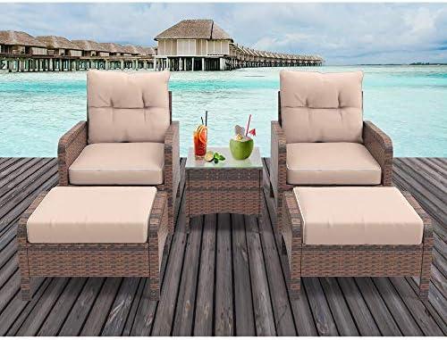 HEYNEMO 5 Piece Outdoor Patio Conversation Furniture Set