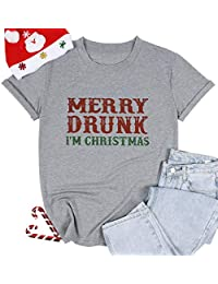 Merry Drunk T Shirt Women Christmas Funny Letter Print Drinking Tops Tees Casual Short Sleeve Holiday Shirts Top