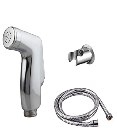 HOME CUBE� ABS with Chrome Finish Health faucets Shower Toilet Jet Spray 1.25 Meter Flexible Hose with Wall Bracket.
