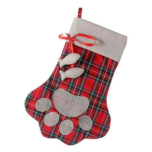 E-FirstFeeling Pet Paw Christmas Stocking for Cat Dog Large Cat Christmas Paw Stocking Christmas Decorations (Fish)]()