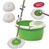 360° Rotating Head Easy Magic Floor Mop Bucket 2 Head Microfiber Spinning Green