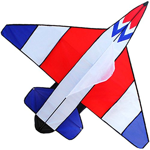 Hengda kite Colorful Fighter Kites The Plane Kite for Children with Flying Line-Red,White,Blue ... ()