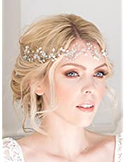 FXmimior Bridal Hair Accessories Crystal Headband Hair Vine Diadem Evening Hair Piece Headpiece Customised Long Piece Wedding Headpiece (Rose Gold)
