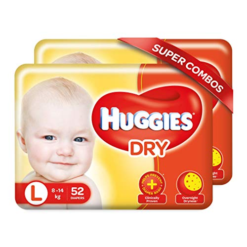 Huggies Dry Taped Diapers Large L Size Combo Pack 104 Pieces