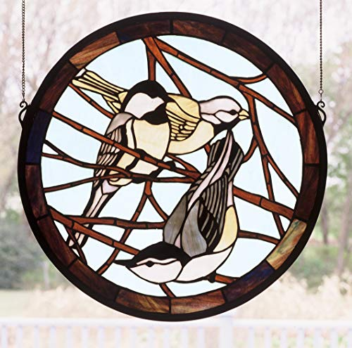 Meyda Tiffany 48607 Early Morning Visitors Medallion Stained Glass Window, 18