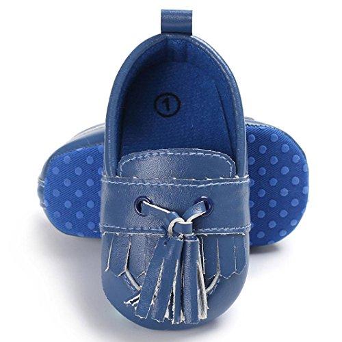 Hunpta Baby Schuhe Jungen-Mädchen Neugeborene Leder Krippe Soft Sole Schuh Turnschuhe Blau
