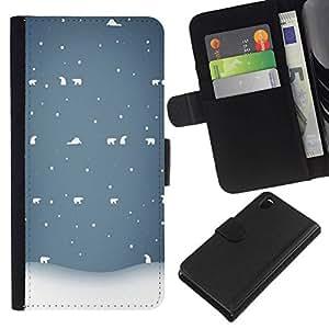 All Phone Most Case / Oferta Especial Cáscara Funda de cuero Monedero Cubierta de proteccion Caso / Wallet Case for Sony Xperia Z3 D6603 // Bear Winter Snow White Blue Cold