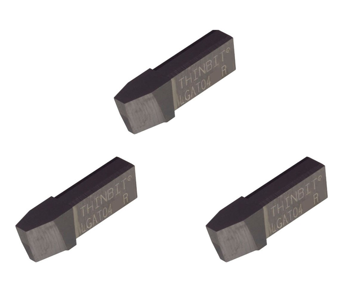Acme Threading Insert for 4 TPI in Plastics THINBIT 3 Pack LGAT04HSR L Series Composites Uncoated high Speed Steel Abusive Cutting Conditions and Low RPM Cutting.
