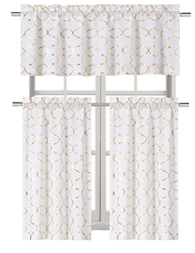 GoodGram Metallic Foil Lattice Kitchen Curtain Tier & Valance Set - Assorted Colors (Gold)