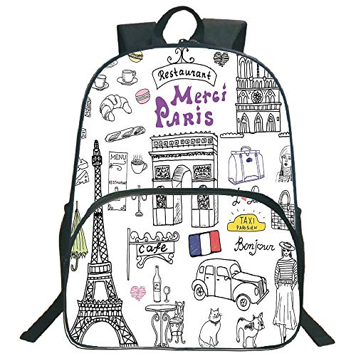 "Doodle 3D Print 16"" Backpacks,Paris Culture in Doodle Style Drawing Eiffel Tower Beret Croissant Blue Cheese Taxi,3th 4th 5th Grade School Bookbags Travel Laptop Daypack Bag Purse,for Kids Teens,Multi"