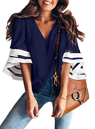 AlvaQ Women 3/4 Bell Sleeve V Neck Solid Tops Summer Casual Shirt Blouses Plus Size 1X Blue ()