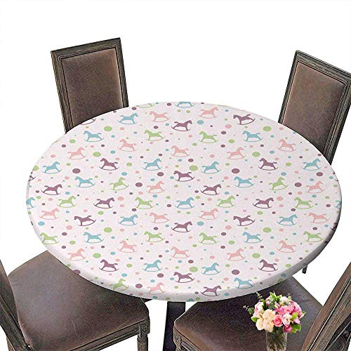 (PINAFORE Round Polyester Tablecloth Table Cover Seamless with Circles and Baby Rocking Horse for Most Home Decor 67