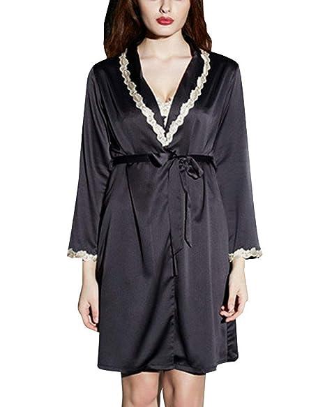 HhGold Vestidos de Mujer Kimono Batas de Raso Camisa de Dormir Ropa de Dormir (Color