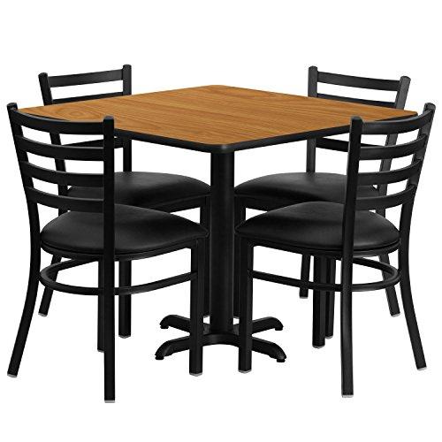 Flash Furniture 36'' Square Natural Laminate Table Set with 4 Ladder Back Metal Chairs - Black Vinyl Seat