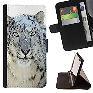 For Sony Xperia Z1 L39 Snow Leopard Tiger Furry Winter Animal Beautiful Print Wallet Leather Case Cover With Credit Card Slots And Stand Function