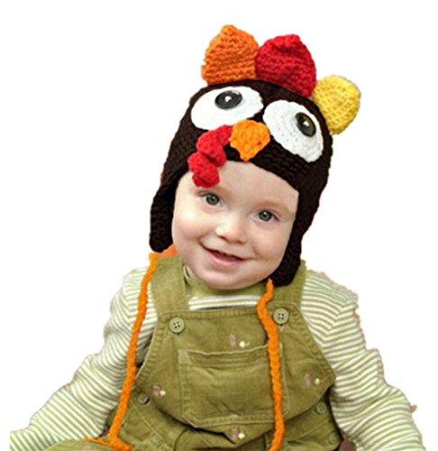 Highpot Baby Boys Girls Crochet Turkey Hat Baby's Photography Props Chicken Cap (S, Coffee)]()