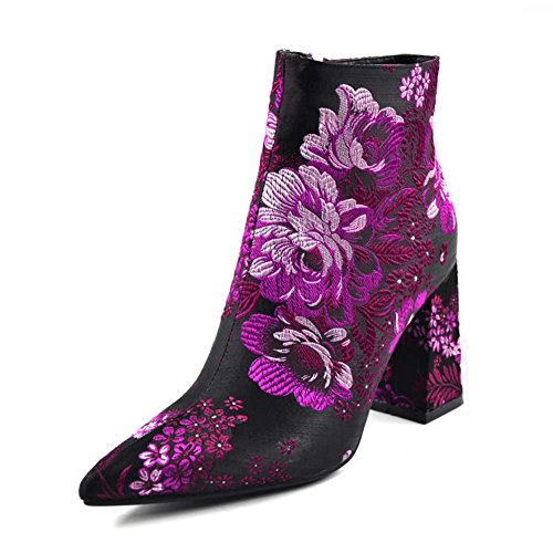 Womens Floral Fabric Pointy Toe Chunky High Heel Ankle Boot Shoes Multi 8