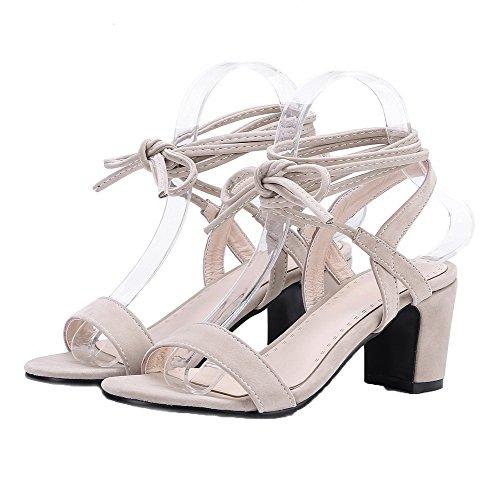 Sandals Up VogueZone009 Solid Suede CCALP014814 Toe Beige Open Women Heels Lace Kitten Imitated SqUwxfqv