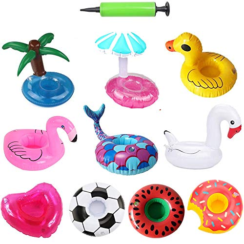Nyicey Inflatable Drink Holder, 10 Pack Inflatable Pool Cup Holders Coasters for Pool Party Water Fun -
