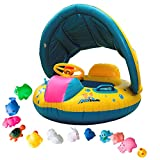 iGoods Safe Baby Pool Floats Floaties with Sun Canopy, Inflatable Infant Toddler Kids Child Swim Swimming Rings, Water Floatation Device,Safety Baby Pool Seat Boat Toys Bath with Sunshade Aids