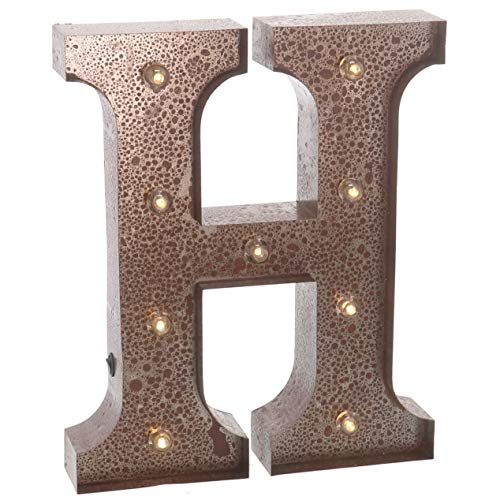 """Mikash Metal Marquee Letter H Light Up Wall Initial Wedding, Home and Bar Tion 12"""" (Rust) 