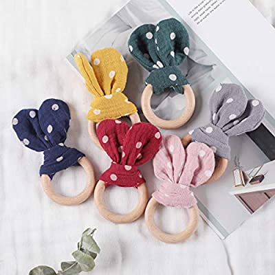 Biter teether Wooden Teether Ring for Babies 100% Cotton Polka Dot Pattern Bunny Ear Natural Beech Wood Smooth Holder Safety Wooden Sensory Rattle Toy Gift Green: Toys & Games