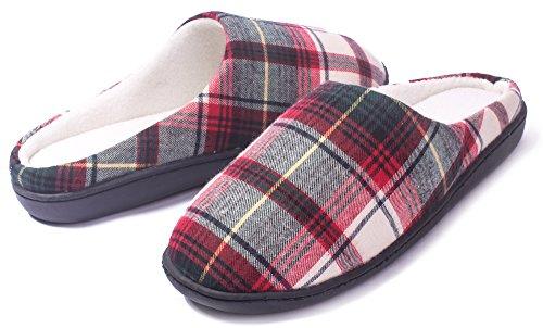 AgeeMi Shoes Mujer Puntera Redonda Ajedrezado Interior Algodón Zapatillas Verde Rojo