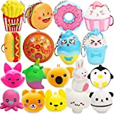 R HORSE 18 Packs Cute Kawaii Squishy Toys Animal Squishy Set, Cute Food Squishy Set, White Mushroom Squishy Soft Cream Scented Stress Relief Squeeze Toys