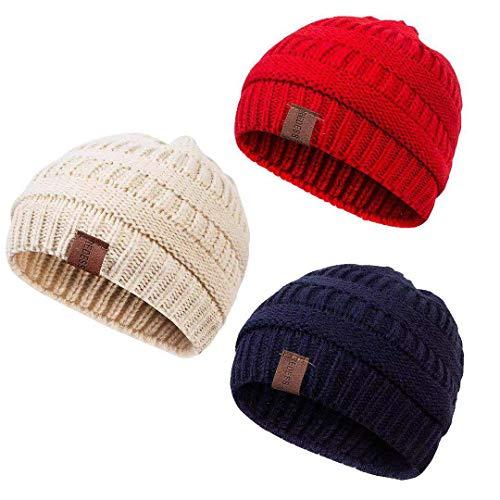 REDESS Baby Kids Winter Warm Fleece Lined Hats, Infant Toddler Children Beanie Knit Cap Girls Boys (Crochet Beanie Pattern For 2 Year Old)